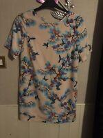 Asos Pink/Multi Floral Chiffon Shift Dress Size 10