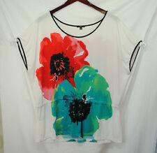 Milano Woman Size 2X Silky Blouse Top Red Teal Green Black Floral Tie at Waist