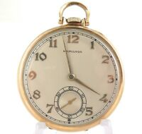 .1941 HAMILTON 917 10S 17J 3 ADJUSTS 14K GF POCKET WATCH.