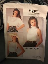 VINTAGE 1986 VOGUE RALPH LAUREN BLOUSE PATTERN 1724 MISSES SIZE 10