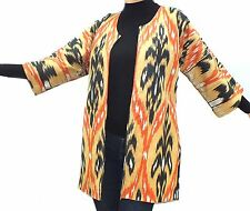 Ladies Cotton/Silk spring Coat Vintage Mid Long Ethnic Style Ikat Print