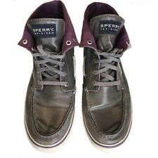 SPERRY TOPSIDERS WOMENS METALLIC GRAY W PURPLE HIGH TOP BOAT SHOES 8.5M SNEAKERS