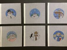 Set of 6 Hand-painted Needlepoint Canvases 4 Inch Round Snowman Ornaments