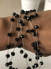 Vintage Retro Black Glass Bead Facet Cut Glass Necklace Costume Jewellery Used