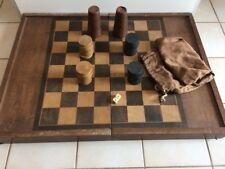JEU ANCIEN JACQUET BACKGAMMON dames  -COFFRET en bois - 30 jetons / 2 des / cuir