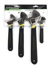 NIP Pittsburgh 4 Piece Adjustable Wrench Set Carbon Steel Lifetime Warranty