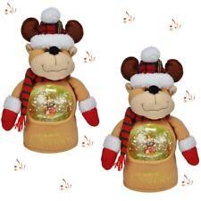2x Singende Weihnachtsfigur mit integrierter beleuchteter Schneekugel - Rentier