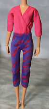 Genuine Mattel Barbie Fashion Doll Magenta Pink/Purple Printed Jumpsuit Outfit