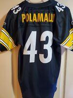 SEWN #43 Troy Polamalu Authentic Reebok Pittsburgh Steelers Jersey Youth XL