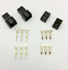 MALE & FEMALE 3 PIN PC FAN LED POWER CONNECTORS - 2 OF EACH- BLACK INC PINS