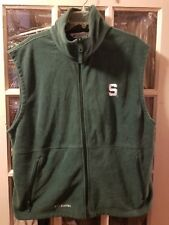 Michigan State Spartans Full Zip EMBROIDERED Fleece Vest with Pockets Adult XL