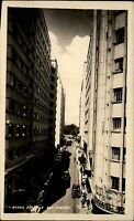 Sao Paulo Brasil Brasilien s/w Postkarte 1951 datiert Rua Marconi Straßenpartie