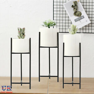 Ceramic Plant Pot Plants Stand Marble Flowerpot Pot Vase Planter with Holder UK