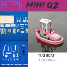 DIY 1:18 Q2 Mini Tug boat 220 mm Rescue simulation RC ABS Wooden Model Ship Kit