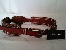 Bebe Hair Calf Corse Belt P/S 100% Genuine Leather Studded Brown White Stitches