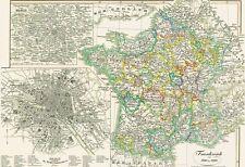 Real carte ancienne 171 at the de la France avec carte de Paris in 1846 1610-1790