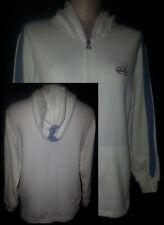 Ellesse Hoodie Jogging Sweatshirt Jacket Mens Womems White & Blue Italy Sz Small