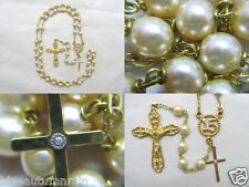 † SWEET 15 QUINCEANERA GOLD TONED GENUINE DIAMOND & PEARL STYLE ROSARY ROSARIO †