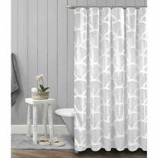 Metallic Silver Shower Curtain White Fabric Sunrise Foil 70x72