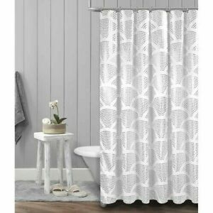 Metallic Silver Shower Curtain White Fabric Sunrise Foil 70x72