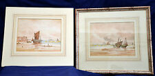 Thomas Mortimer c.1900 Signed Pair of Coastal Watercolour Paintings with Boats