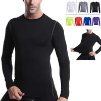Men's Fitness LONG Sleeve T-Shirt Dry Top Sport Gym Compression Athletic Clothes