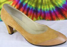 size 7.5-8 vintage 70s tan suede leather Saks Fifth Avenue wing-tip pumps shoes