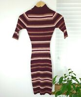 LU NYC Jumper Dress Size Small UK 8 10 Purple Striped Brown Pink Mauve High Neck