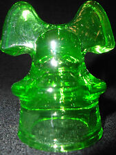 Green Vaseline glass insulator uranium mini Hemingray mickey mouse style yellow