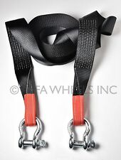 "3"" 6.5 TON Tow Strap 30ft w D-Rings winch sling snatch Jeep CJ Heavy Duty"
