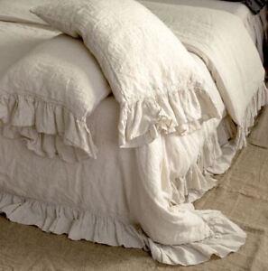 LINEN DUVET COVER. Shabby Chic linen ruffled duvet cover with ruffles, linen bed