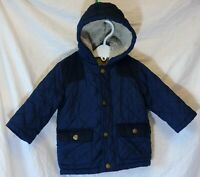 Baby Boys George Blue Quilted Lightly Padded Fleece Lined Coat Age 9-12 Months