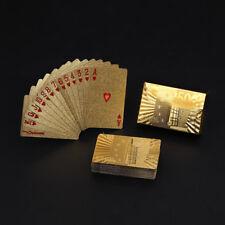 Expédié de Paris - Poker Carte A Jouer Jeux Feuille D'or Plastique Box Doré Euro
