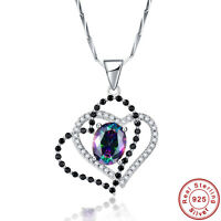 2.55CT Gemstone Rainbow Topaz 100% S925 Sterling Silver Pendant Chain Necklace