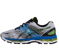 Mens Asics Nimbus 17 Running Shoes Sneakers T507N White Royal Blue Volt Black 10