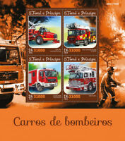 Sao Tome & Principe 2016 MNH Fire Engines Essex Ladder Trucks 4v M/S Stamps