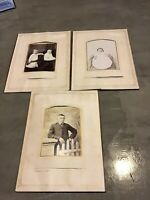 Lot Of 6 CABINET PHOTO CARDs In 3 Album Pages Baby Children Girl Boy Babies Kids