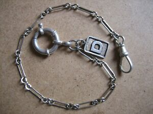 Vintage Unique  S/Silver  Pocket  Watch Chain 9.3/4in. Long