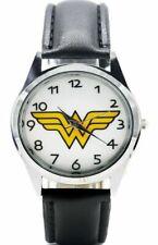 Wonder Woman Logo Black Leather Band Wrist Watch Fits Teens & Adults