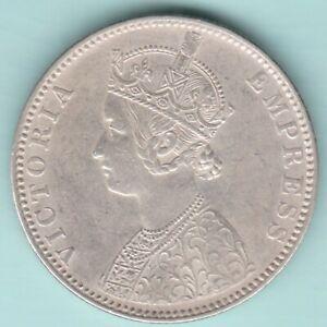 BRITISH INDIA 1890 VICTORIA EMPRESS ONE RUPEE SILVER COIN NEAR ABOUT UNC