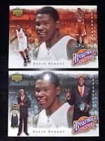 2 KEVIN DURANT ROOKIES 2007 UPPER DECK NBA HEROES #KD-2 & #KD-10 *MINT*