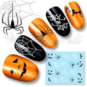 Nail Art Water Decals Transfers Stickers Halloween Bats Spiders Webs Trick K098