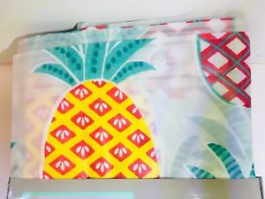 BRIGHT TROPICAL PINEAPPLES PEVA SHOWER CURTAIN YELLOW RED PINK GREEN