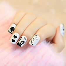24 PCS Spades Heart False Nails Short Black Poker Finger Nails with Glue Sticker