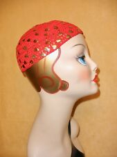 1970's Vivid Red Knit Disco Hat w/ Applied Gold Leaf Accents