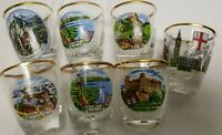 Set of 7 Shot Glasses from touring Munchen Germany/ France/ Europe. All gold rim
