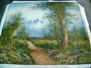 Old Original Oil on Canvas Painting -Mountain & Woodland Scene-Unsure of Age etc