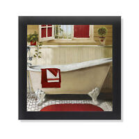 Red Bain IV Claw Foot Soaking Tub Black Framed Bathroom Art 12x12