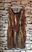 Dorothy Perkins Ladies Golden Sequin Party Dress Size 10