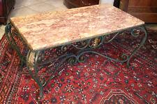 Table basse en fer forgé double patine décor feuillage Louis 14 plateau marbre